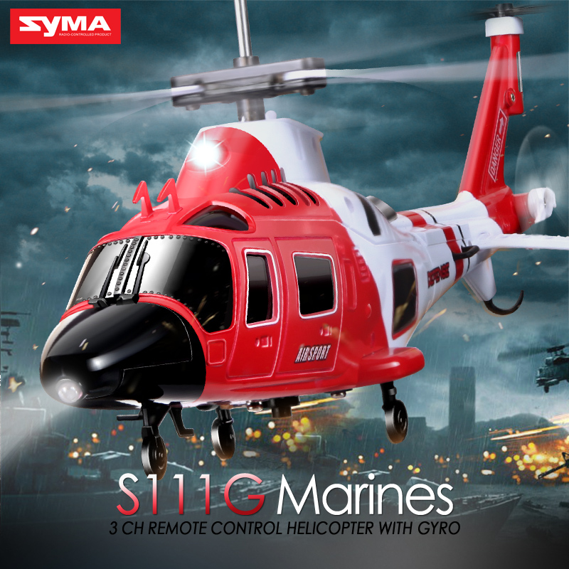 100 Original SYMA S111G 3 5CH RC Marines Helicopter W Gyro Shatterproof LED Lights Drone Easy