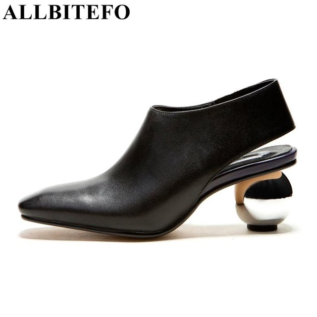 ALLBITEFO New Arrival Genuine Leather Buckle Pumps