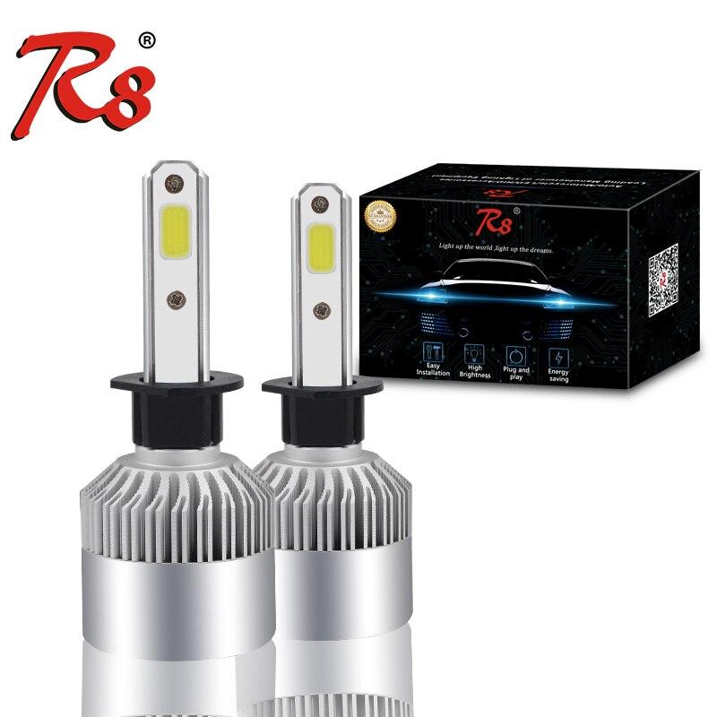 R8 Auto Scheinwerfer Nebel Glühbirne 12 v H4 H7 H11 H1 H3 9005 9006 360 grad COB LED Auto Scheinwerfer-birnen Hallo-Lo Strahl 72 Watt 8000LM 6500 Karat