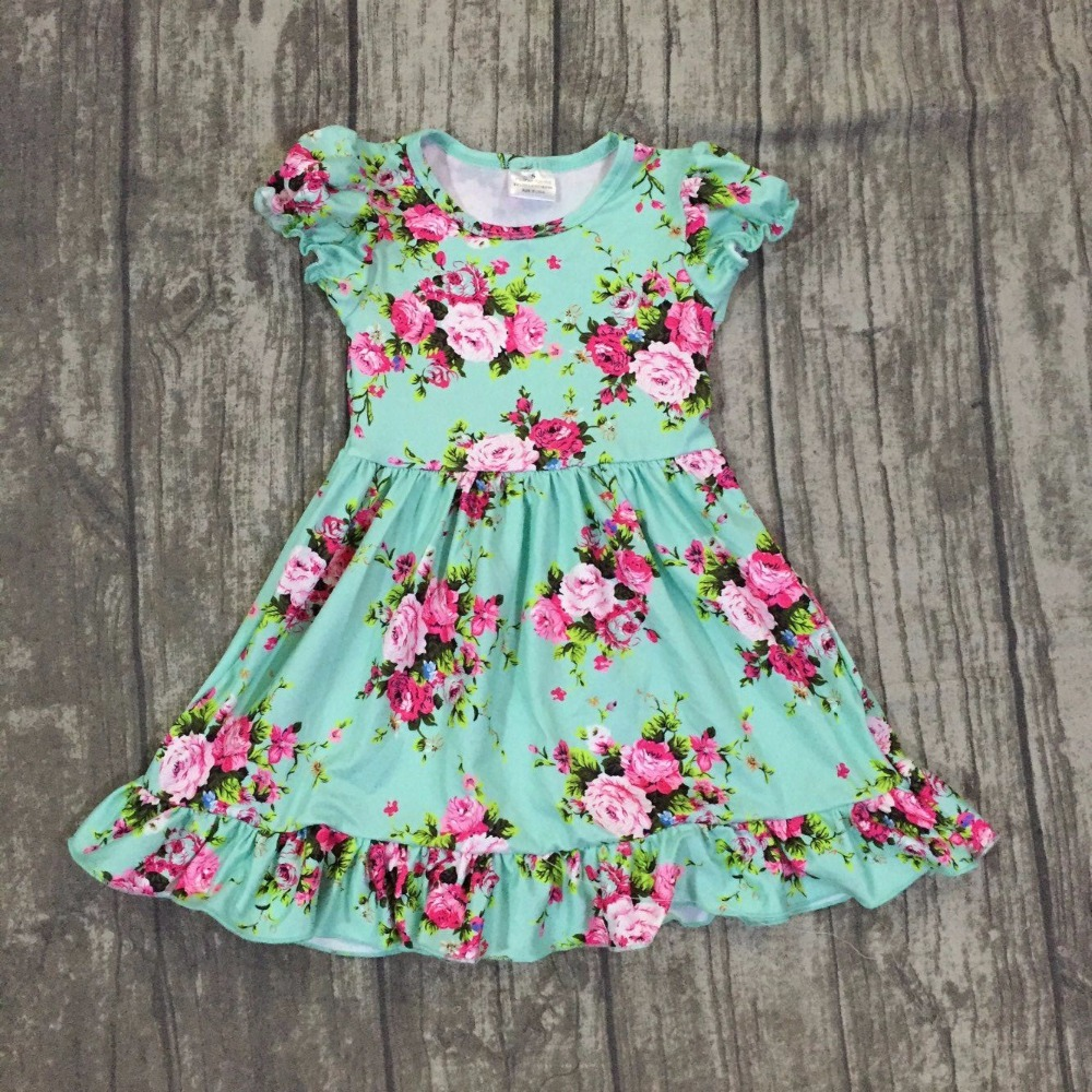 2018 new arrival Summer baby girls dress short sleeves green floral flower print girls clothing boutique milk silk ruffle kids new design baby girls summer dress clothing girls floral dress children soft minl silk dress girls green floral boutique dress
