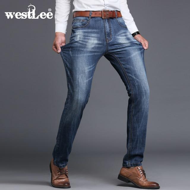 new brand men designer stretch casual straight leg denim jeans male regular fit cotton business trousers pants vaqueros hombre