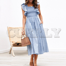 CUERLY Vintage striped women long dress Ruffle linen blue elegant summer 2019 Casual cotton fashion female beach vestidos