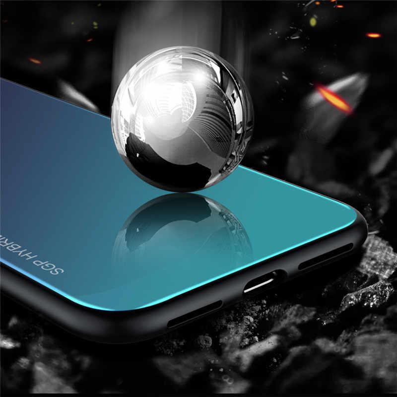 Đối với Huawei P20 Lite Pro Trường Hợp Điện Thoại Mềm Bumper Aurora Gradient Đầy Màu Sắc Tempered Glass Bìa Trường Hợp đối với Huawei P10 lite cộng với Trường Hợp