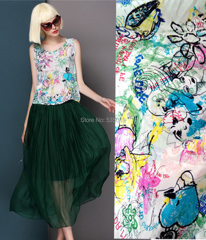 New 2018 Green Graffiti DIY Digital Painting Brand Crepe Silk Fabric african cloth Dress Mulberry Silk Clearance Sale Wholesale