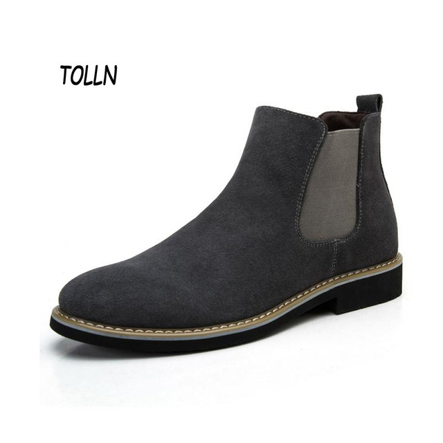 The Chelsea Boot Men Suede Hombre Martin Boots Low Heel Nubuck Leather Ankle Boots Vintage Sewing Thread Britain Botas XMG0114-5