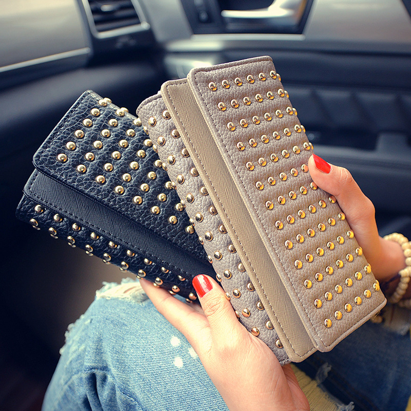 Rivets Pu Leather Women Wallet Fashion Long Woman Purse Clutch Vintage Punk Cool Black Men Wallet Chic Credit Card Holders