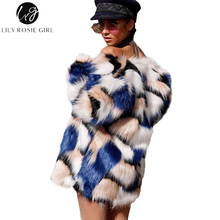 Здесь можно купить  Lily Rosie Girl Colorful Faux Fur Women Coats Blue 2017 Autumn Winter Warm Outwear Long Sleeve Casual Party Cardigan Overcoat
