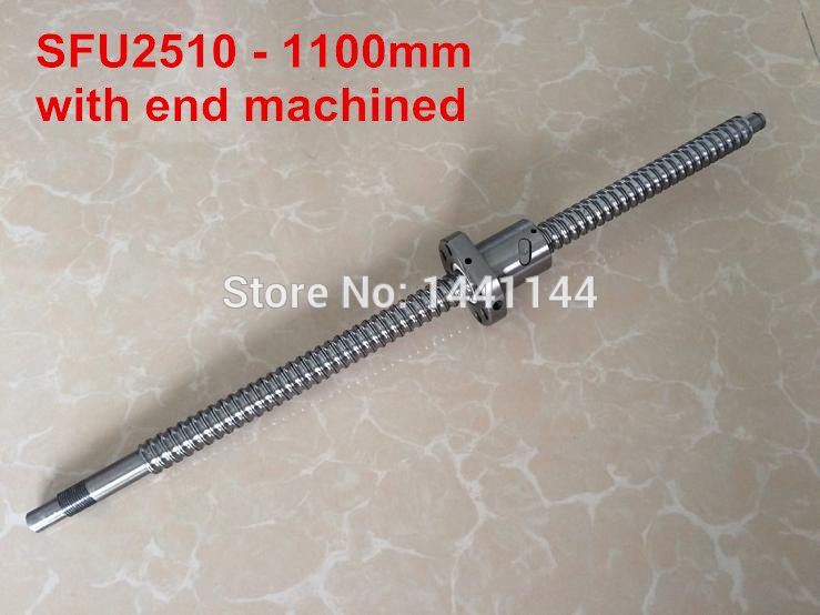 SFU2510- 1100mm ballscrew with ball nut with BK20/BF20 end machined sfu2510 1200mm ballscrew ball nut with end machined bk20 bf20 support