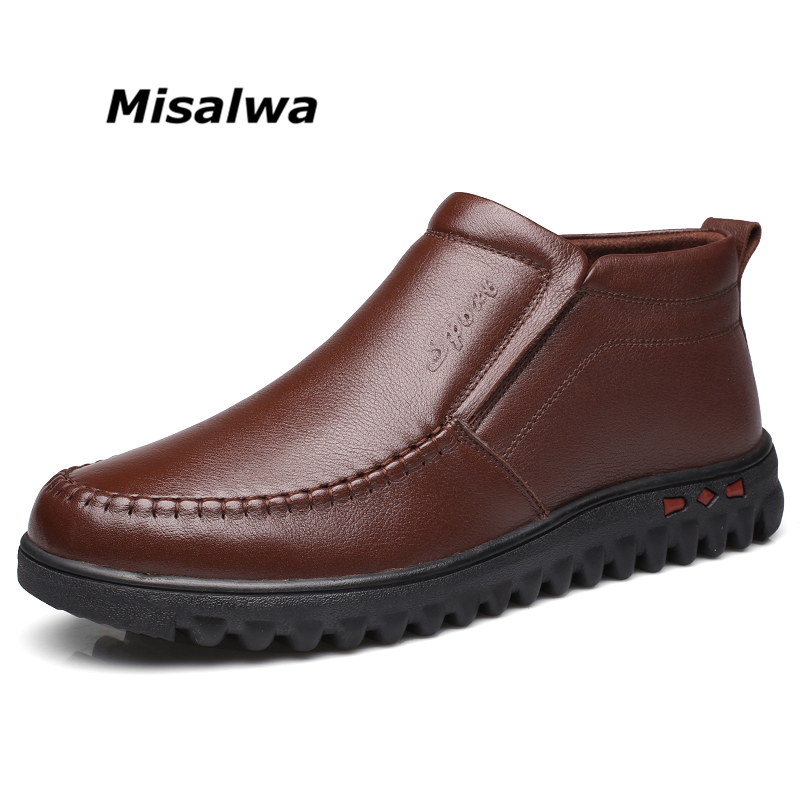 Misalwa Black Brown Winter Autumn Men Boots Casual Leather Male Work Ankle Snow Boots Daily Classic Men Comfortable Boots недорого