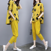 ФОТО yellow two pieces summer set 2018 summer womens outfits pant suits ladies plus size polka dot tops linen tracksuit clothing