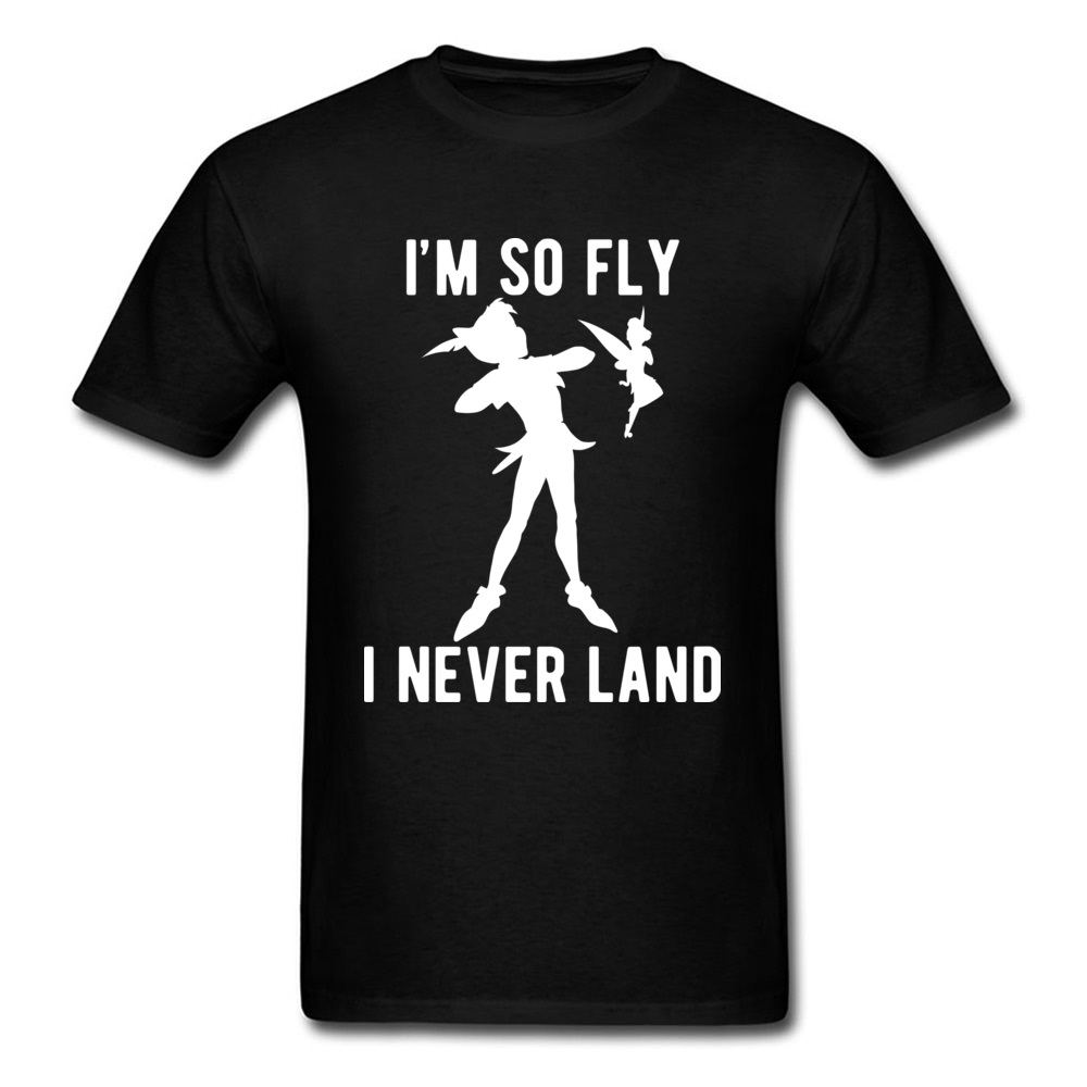 Peter Pan Never Lands Funny Tshirt Men Clothes Summer/Autumn T Shirt Pure Cotton Tops Shirts Newest Personalized Top T-shirts