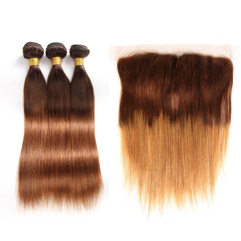 Ombre Malaysian Straight Hair Bundles With Frontal Closure 2/3/4 Human Hair Bundles With Closure Ear To Ear Frontal With Bundles