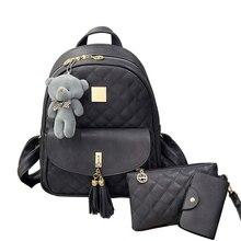 Enopella Новинка 3 шт./компл. маленький медведь Обувь для девочек школьная сумка из искусственной кожи с кисточками Для женщин рюкзак двойной молнии Для женщин сумка Винтаж рюкзак сумки