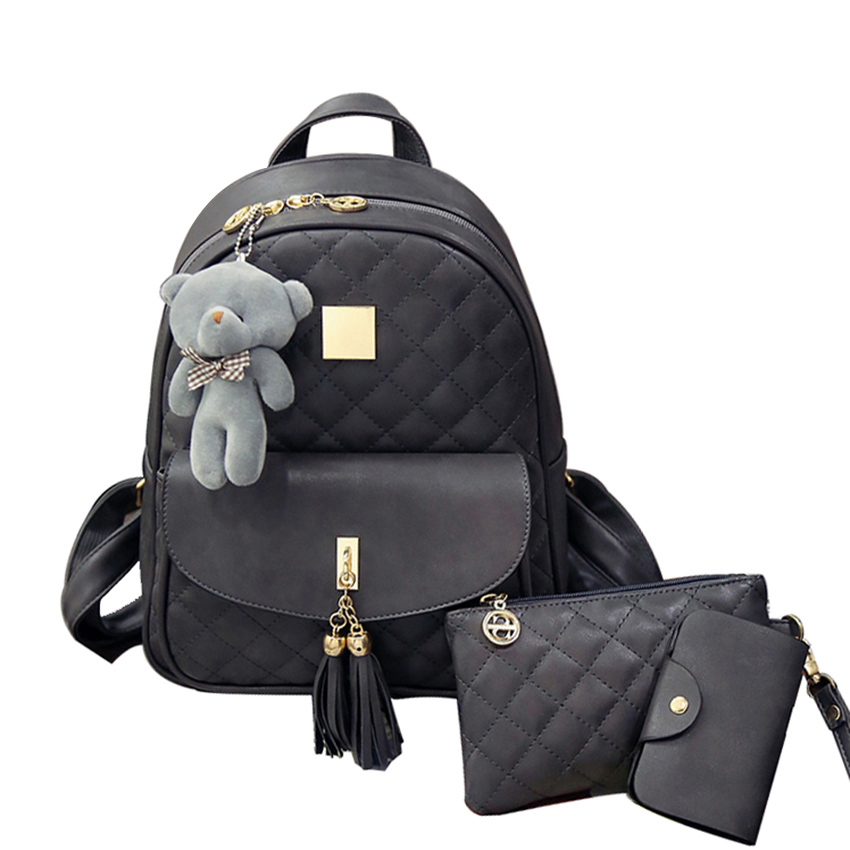 New Arrival 3pcs set Small Bear Girls School bag PU Tassel Women Backpack Double Zipper Women