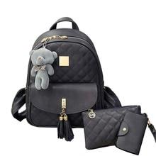 Новое поступление 3 шт./компл. маленький медведь Обувь для девочек школьная сумка из искусственной кожи с кисточками Для женщин рюкзак двойной молнии Для женщин сумка Винтаж рюкзак сумки