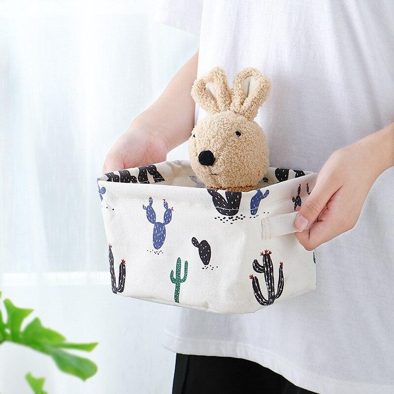 Small Basket Rectangular Compartment Fabric Bathroom Desktop Can-Be-Hung