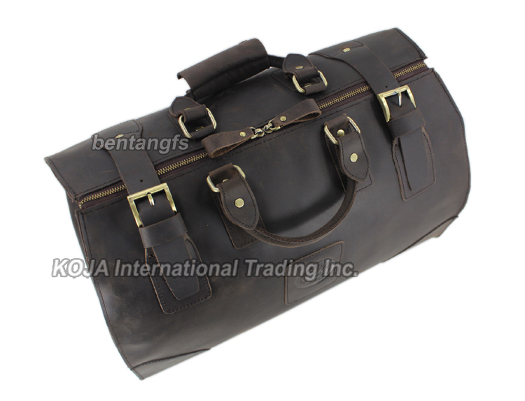 Image 5 - MUNUKI Vintage luggage bag Crazy Horse Genuine Leather Travel bag  men Leather duffle bag Large Weekend Bag Tote Big-in Travel Bags from Luggage & Bags