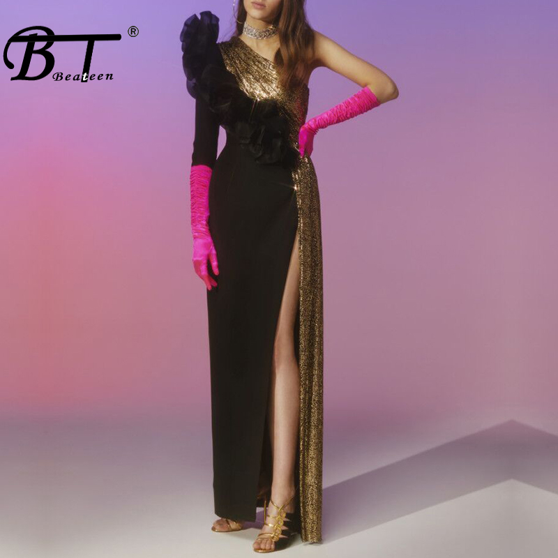 Beateen Ruffles One Shoulder Long Sleeve Slit Maxi Dress Black Gold Patchwork Sexy Club Party Gown