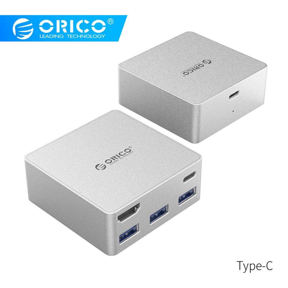 ORICO type-c HUB USB3.0 HDMI Mini Station d'accueil en aluminium Multiport type-c HDMI type-a PD fonction pour MacBook Pro-argent