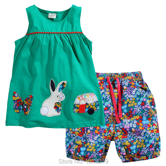 New 2017 Brand Quality 100% Cotton Baby Girls Clothing Sets Short Sleeve Children Clothing Summer Baby Girls Clothes Set Outwear