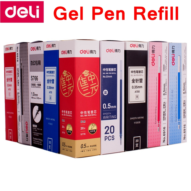 20 TEILE/SCHACHTEL Deli A702 0,5mm Gel pen Refill 129mm länge ganze nadel Schwarz Blau Rot 3 farben optional replacment stift refill