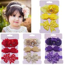 Fashion 3pcs/lot Kids Elastic Floral Headband Girls Baby Bowknot Hairband Set Child Hair Accessories Photo Shoot Cute Gift