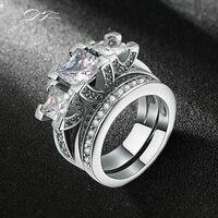 18K White Gold Plated Luxury 2 Rounds 3 Square CZ Diamond Bijoux Fashion Wedding Ring Set