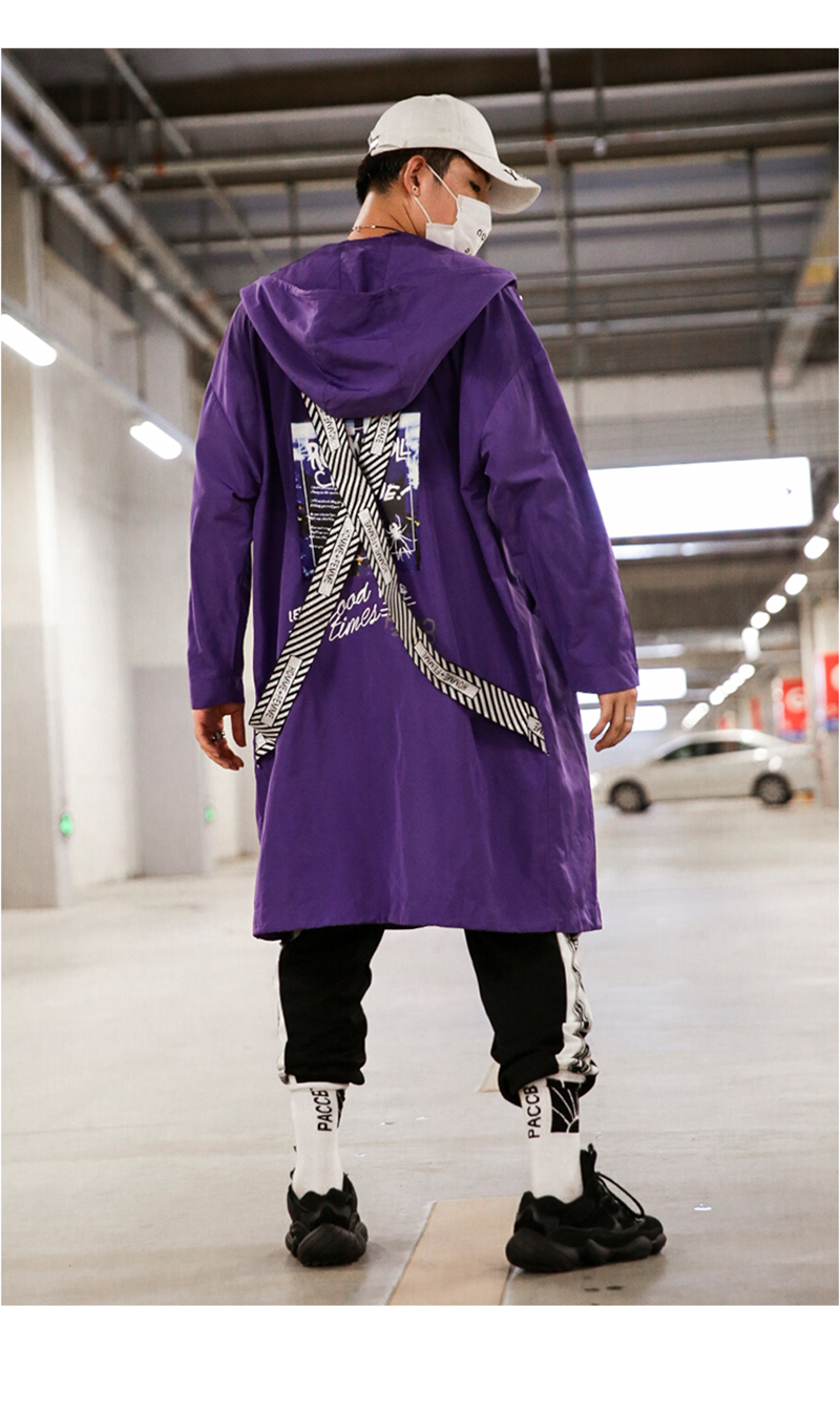 Long Men Trench Coat Casual Spring 2018 Slim Fit white Mens Hood Street South Korea Clothing (10)