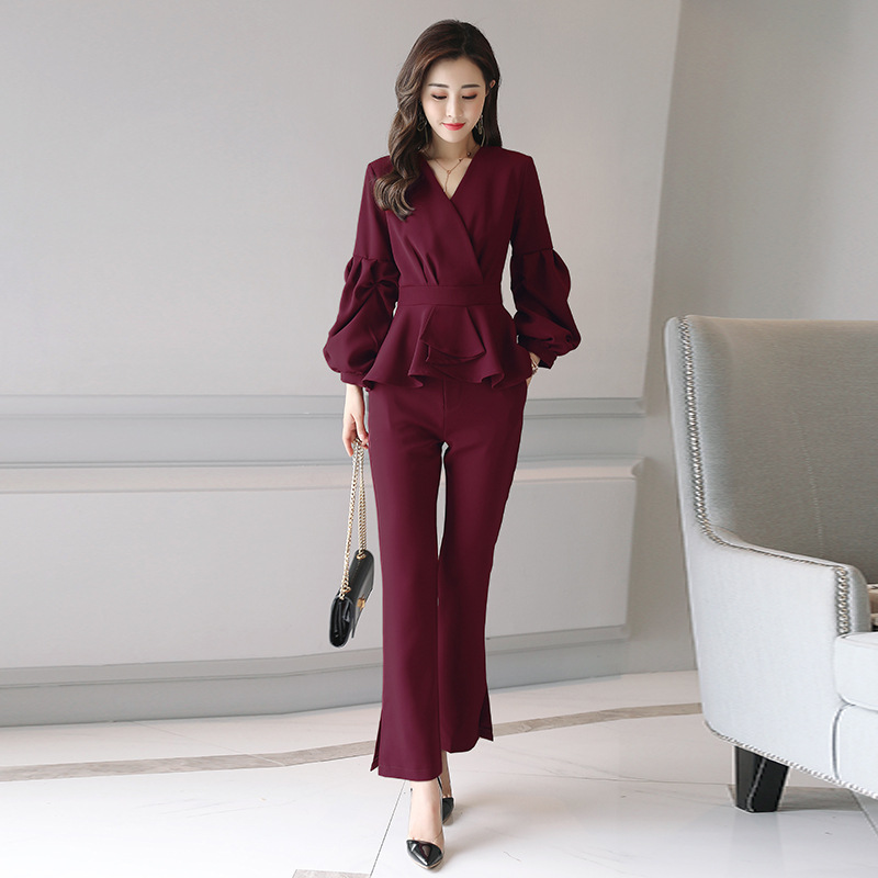 Women two-piece fashion suits High Waist Wide Leg Pants+Long sleeve sleeve t-shirt summer  Female Long Pants Set/Two Piece Set