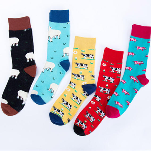 Men Business Wedding Funny Socks Street Creative Animal Happy Socks Unisex Harajuku Divertidos Skateboard Hip Hop Calcetines
