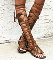 2017 Fashion Women Summer Boots Vintage Real Leather Fringed Sandals Cut Outs Zipper Shoes Women Knee High Botas Gladiator Flats