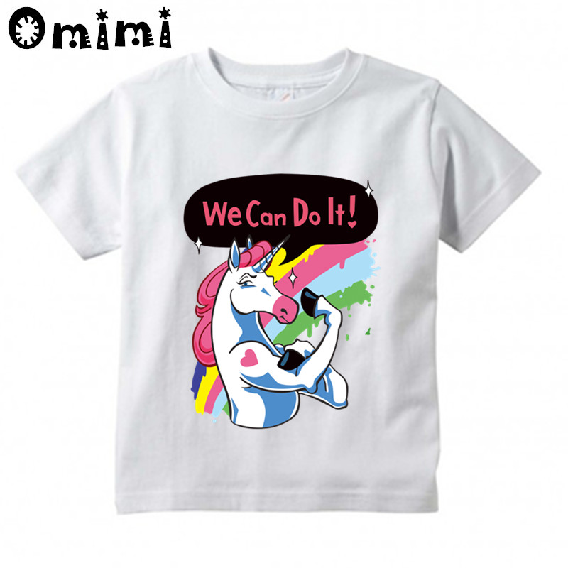 Boys/Girls 3D Unicorn We Can Do It Cartoon Design T-Shirt Childrens Funny Short Sleeve Tops Clothing Kids T Shirt,HKP3014