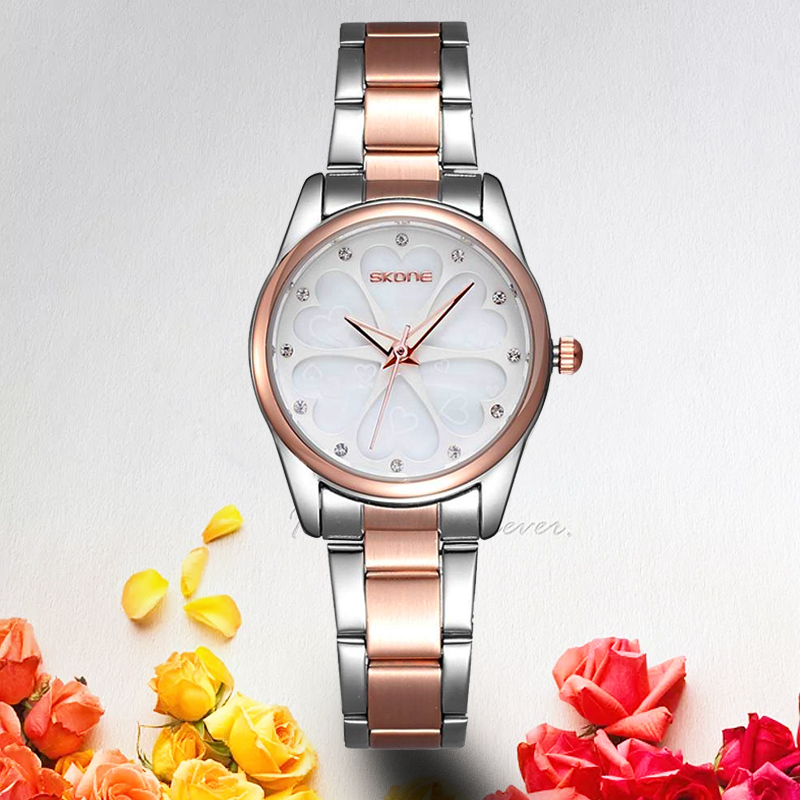SKONE Brand Women Dress Watches Heart Rhinestone Rose Gold Fashion Watch Ladies Quartz-watch Girls Wristwatch 2018 Gift for her