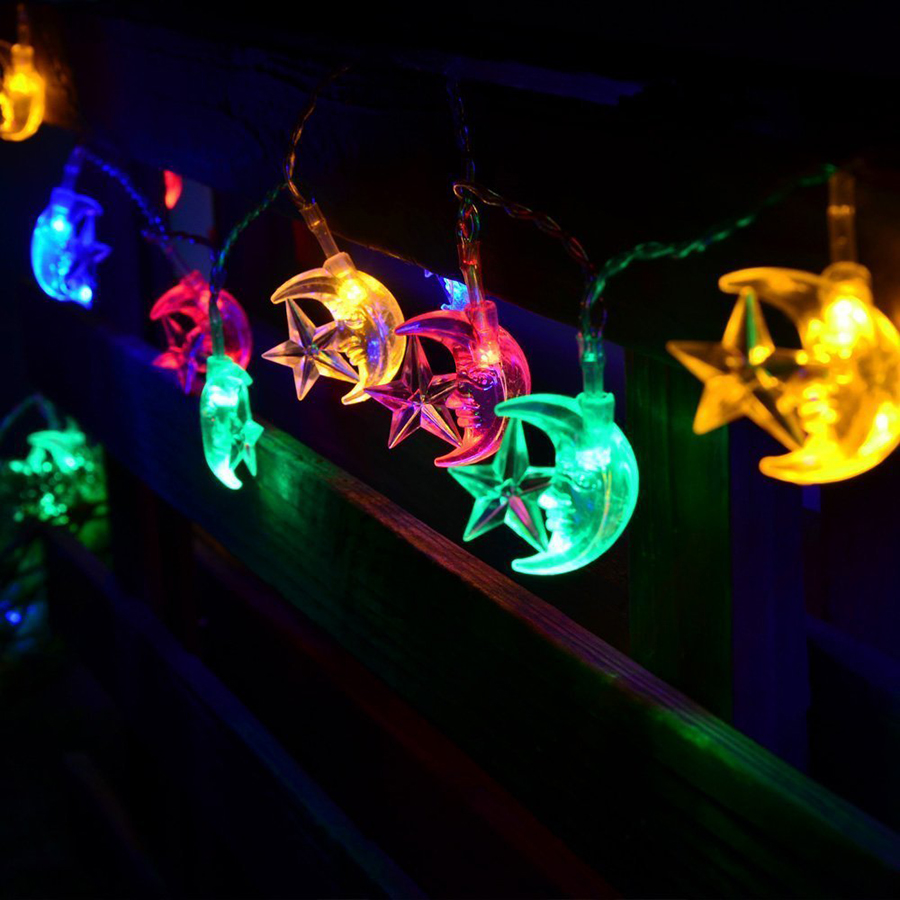 Multicolor 4M 20LEDs AC110/220V Stars&Moon Waterproof LED String Light Christmas Lights  ...