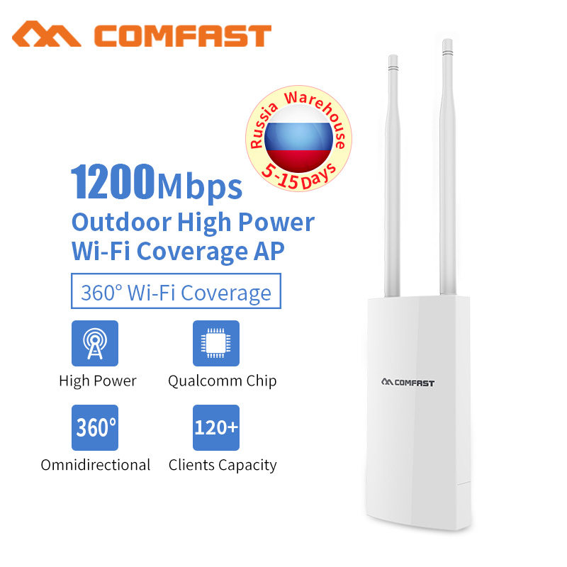1200Mbps High Power Outdoor Weatherproof AP CPE Wifi Extender 48v Poe Access Point Router WISP Wi