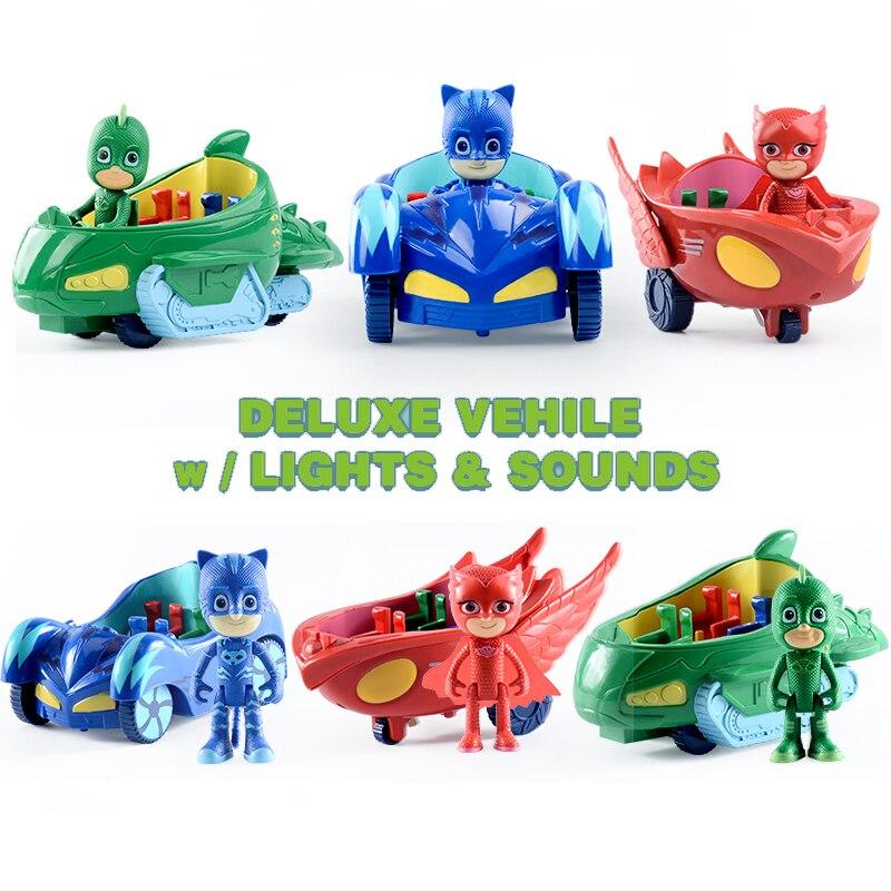 1-3 unids/set pj oyuncak máscaras anime figuras de acción pjmask juguetes para niños pyjamasque coches modelo