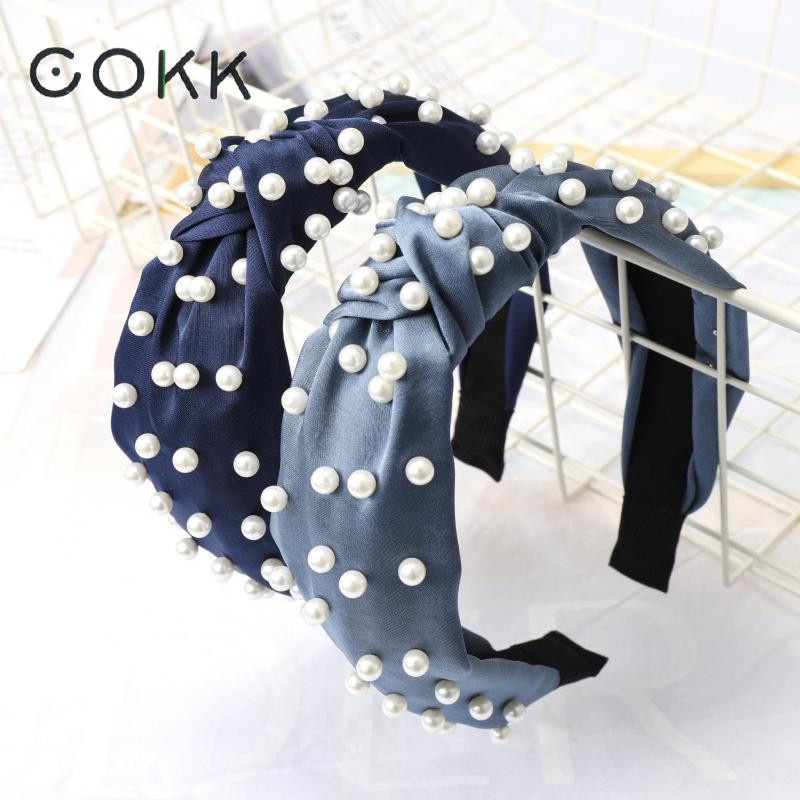 COKK Pearls Hairband for Women Headband Turban Fashion Female Knotted Hair Hoop Girls Hair Accessories Female   Headwear   Wholesale