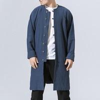 Big Size M 5XL Spring Autumn Men Long Cotton Linen Coat Chinese Style Casual Kongfu Costumes