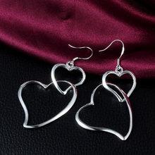 Женские серьги с двойным сердцем подвески большого размера y3e603