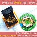 Тестовая розетка от QFP80 до QFP80  TQFP80  LQFP80  разъем с IC51-0804-808  шаг сокета = 0 5 мм