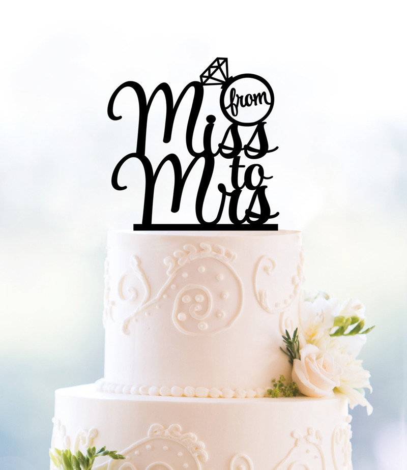 US $6.99 |From Miss To Mrs Wedding Cake Topper Romantic Wedding Cake Decoration Foodsafe Glitter Silhouette Modern and Elegant Cake Topper in Cake
