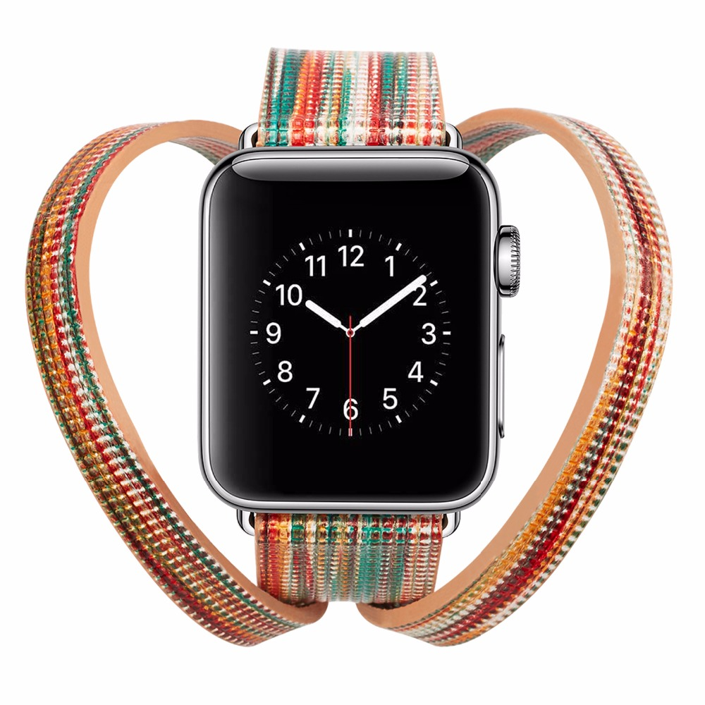2018 Leather strap double loop strap For Apple Watch Band 42mm 38mm iWatch Watch Accessories For Apple Watch Strap Watchband 38mm 42mm apple watchband special design handmade leather watch strap 4 color available for iwatch apple watch free shiping