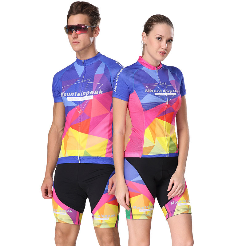 Mountailpeak Spinrg&Summer Cycling Jersey Set Unisex Short Sleeve Men Women MTB Mountain Road Bike Sportswear Bicycle Jacket Set wosawe men s long sleeve cycling jersey sets breathable gel padded mtb tights sportswear for all season cycling clothings