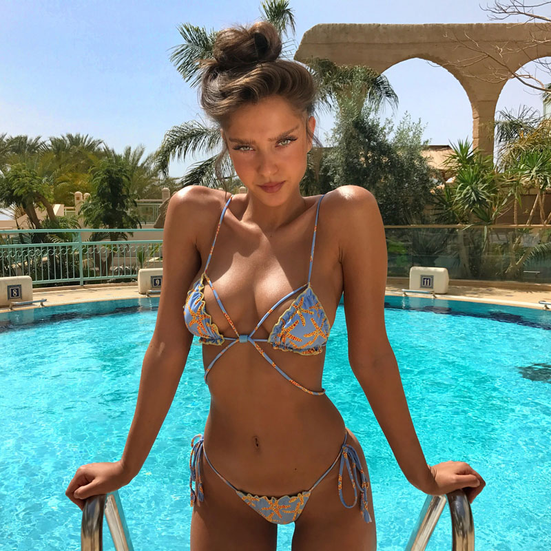2017 New Sexy Brazilian Bikini Retro printed Lacing Swimsuit Biquini mulher Summer beach Swimwear Zaful Moda praia Monokini купить