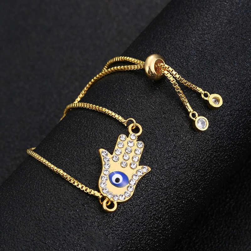 ニュークラシックファティマの手の宝物ブルー邪眼のブレスレットチャームファッション調節可能なレディースジュエリーギフト卸売