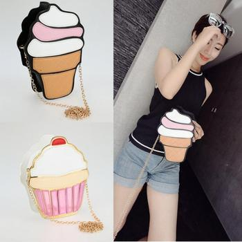 Chain Clutch Crossbody Bag Lady Shoulder Bag Girl Cupcake Small Cute Purse Mini Cream Bag Cake Pattern Design Fashion Style 2016 billetera sailor moon