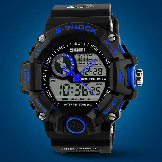 2016 For Skmei S Shock Men Sports Watches 50M Swim Dive LED Digital Military Watch Fashion Outdoor Waterproof Wristwatches