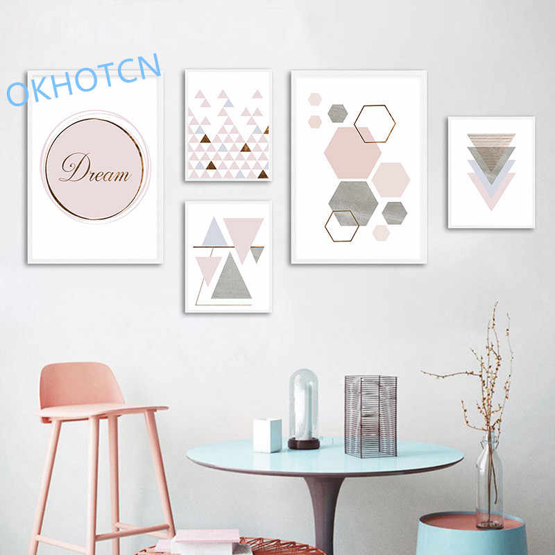 Pink Geometry Wall Art Canvas Nordic Style Posters and Prints Abstract Painting Wall Pictures for Living Room Modern Home Decor