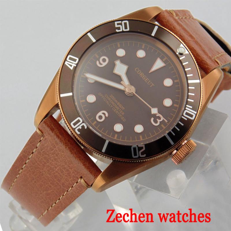 41mm Corgeut Mechanical Watch Miyota Automatic Mechanical Watch Mens Sapphire Glass Belt Watch
