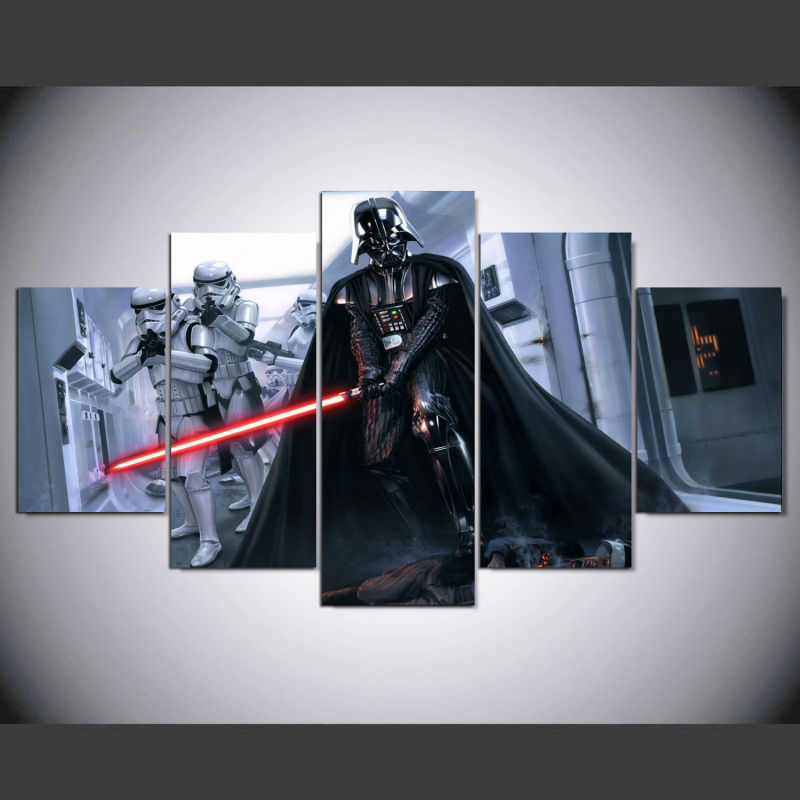 5 Pieces/sets Canvas Art New HD Promotion Fallout Star Wars Darth Vader Canvas Painting Decorations For Home Print Canvas ny-063